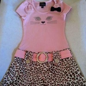 Lilt Pink/Leopard Cat Dress Girls Size 5